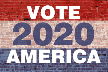 2020 america vote election graphic with red white blue colors text stripes over vintage brick wall