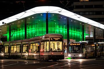 Augsburg, Germany, 08/23/2019: Modern illuminated bus station at the Koenigsplatz in Augsburg, Germany