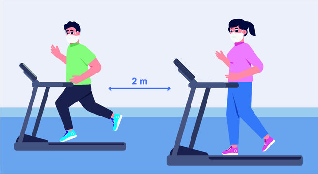 Social distance in New normal Concept, People men and women Exercising and have a medical face mask at Fitness Gym. prevent pandemic of corona virus or COVID-19.