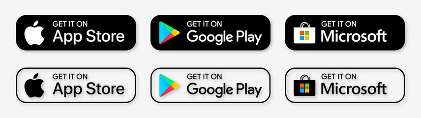 Apple App store, Google Play store, Microsoft store : download App buttons. Isolated black icons set on white background. Download mobile application, UI elements. Editorial stock illustration.