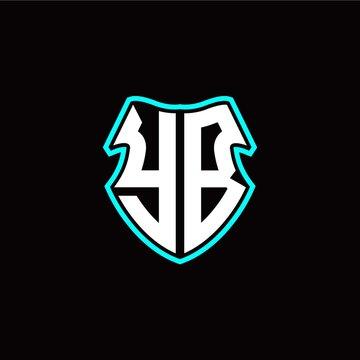 YB initial logo design with a shield shape