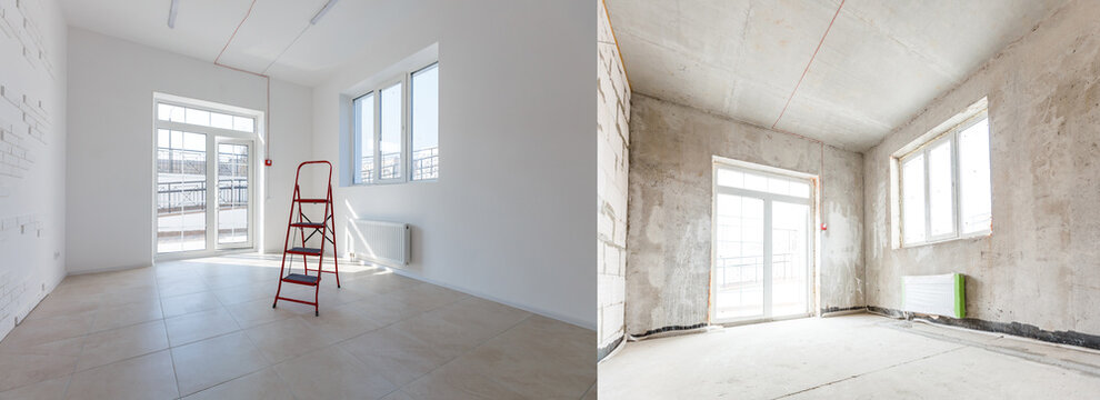 Renovation before and after - renovating empty apartment room