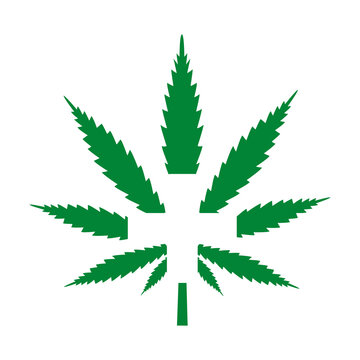 illustration of medical cannabis with a cross on a white background