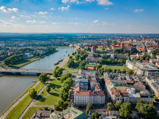 Beautiful Krakow in the sun. The Vistula and the Wawel Castle