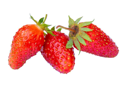 three red delicious strawberries isolated on white background for your design or menu