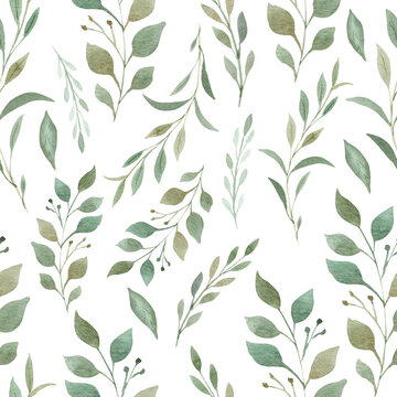 Greenery seamless pattern. Hand painted branches and leaves digital paper.