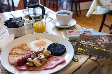 Traditional Irish breakfast in a hostel in Ballycastle, County Antrim, Northern Ireland