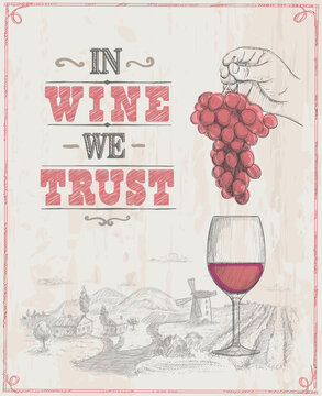 Wine poster with empty space for text and hand drawn graphic illustration with man hand holding bunch of grapes