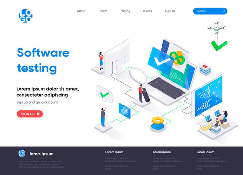Software testing isometric landing page. Software testing and quality assurance, search of bugs and analysis process isometry web page. Website template, vector illustration with people characters.