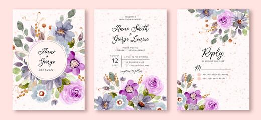 Fototapeta wedding invitation set with blue purple floral watercolor background obraz