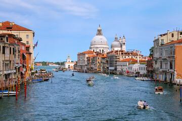 View of Grand Canal and Basilica di Santa Maria della Salute in Venice, Italy