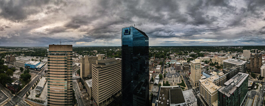 Aerial panoramic view of downtown Lexington, Kentucky with the blue glass business offices building in the middle.