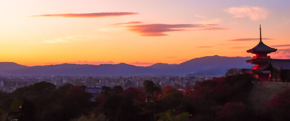 Sunset view with a pagoda in Kyoto