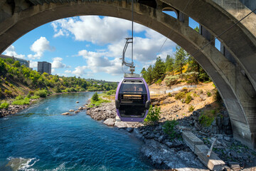 View from a gondola on a cable above the Spokane River at Riverfront Park, Spokane Washington, USA