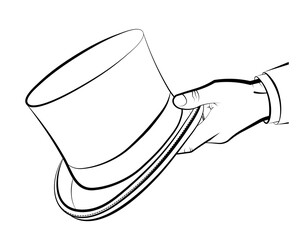 gentleman hand holds a top hat, cylinder. Clothes of a wizard, illusionist. Vector on white background