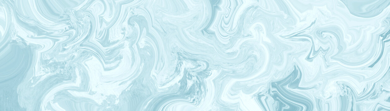 Abstract blue background with marbled texture pattern in elegant fancy design, wavy swirls and curled marbled pattern in detailed painted white and pastel blue stone