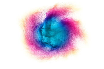 Freeze motion of colorful dust particles on white background.Abstract pastel color powder overlay texture.