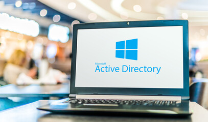 Laptop computer displaying logo of Active Directory