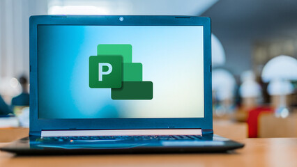 Laptop computer displaying logo of Microsoft Project