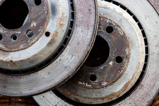 worn out rusty brake discs