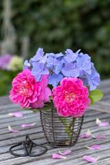 Blumenstrauß mit pink Rosen und blauen Hortensienblüten in vintage Vase