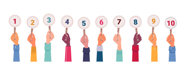 Fototapeta Isolated hands with score. Vector hand holding scorecards. Jury committee showing mark or voting. Icon for math education. Competition score and number sign, result card and numeric figure theme