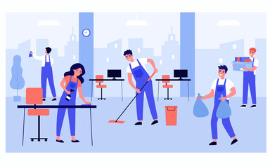 Cleaning staff team working in office isolated flat vector illustration. Cartoon professional janitors washing room from dirt. Cleaning service and hygiene concept