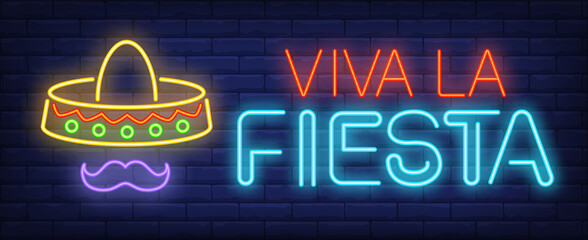 Viva la fiesta neon text with festive sombrero and moustache. Mexican culture and celebration design. Night bright neon sign, colorful billboard, light banner. illustration in neon style.