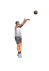 Basketball player with virus protection mask shooting a jump shot on white