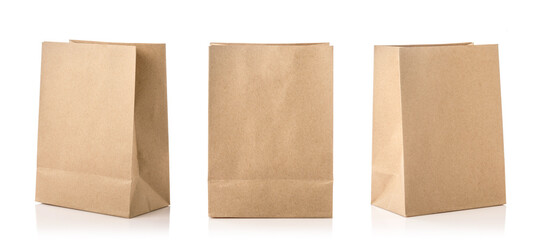New blank brown paper bag for food packing. Studio shot isolated on white