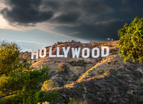 Hollywood sign at sunset. Los Angeles, California