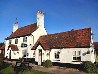 Hatfield, UK, January 17, 2017 : The Woodman Inn outside the city centre is a traditional British public house serving alcohol and a quintessential English pub food menu