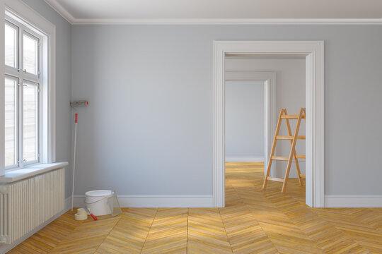 3d Illustration - leere, freie skandinavische Wohnung mit großen Fenstern und Parkettboden - renovieren - sanieren - vorrichten - malern - streichen