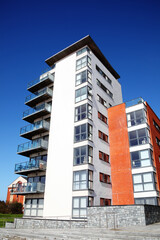 Swansea, Wales, UK – March 31, 2017:  New modern luxury flat apartment architecture building in the city centre
