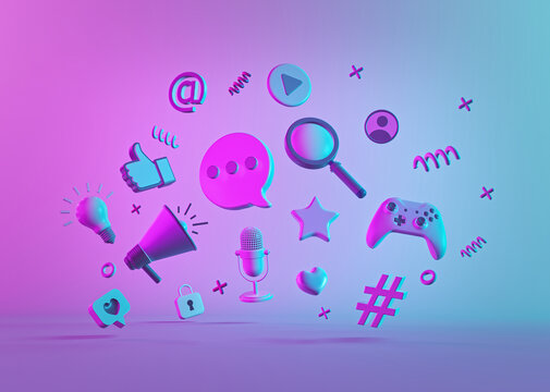 abstract modern trendy social media and technology icons. 3d rendering