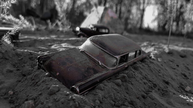 Abandoned old car black and white macro photography.