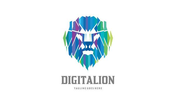 Abstract Lion Logo - Digital Lion Vector - Colorful Lion Head