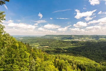 Beautiful green hilly landscape and forest in the Swabian Alps in Southern Germany (Baden-Württemberg)