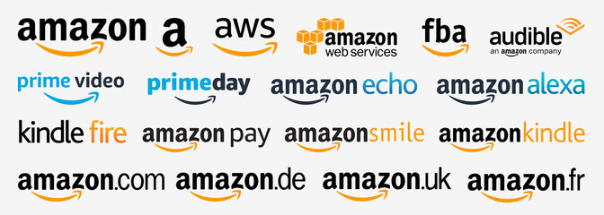 PARIS, FRANCE – AUGUST 02, 2020 : Amazon brand logos, isolated icons set : AWS, Prime, Alexa, Echo, Kindle, Pay, Smile, Audible, FBA, Fire, Web Services. Amazon products and services vector symbols.