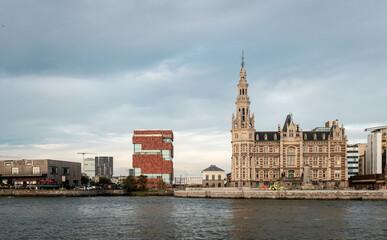 Historic Pilotage building along the river Scheldt in Antwerp, Belgium