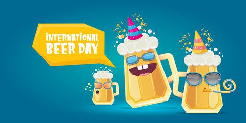 Happy international beer day horizonatal banner with cartoon funny beer glass friends characters with sunglasses isolated on blue background. International beer day cartoon comic poster