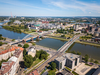 Kazimierz district and bridges over the river. Krakow