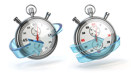 Stopwatch with blue arrow isolated on white. Fast express delivery concept