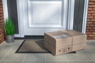 Express delivery, e-commerce online purchasing concept. Parcel box on floor near front door.
