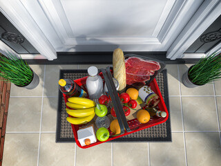 Food and eats online buying and delivery concept. Shopping basket with grocery in front of door. Top view. 3d illustration