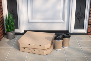 Pizza and coffee buying online and devilery. Pizza cardboard boxes and coffee plastic cup in front of door.