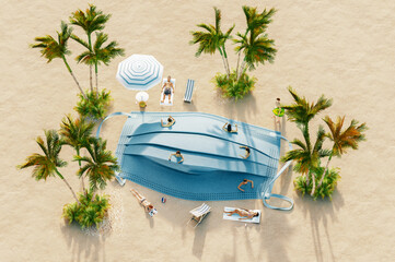 Ban on travel to summer vacation due to risk of virus with breathing mask on the beach, 3d rendering concept