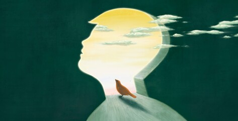 Red bird looking at the sky in boy head, imagination hope dream concept, child art, painting artwork, conceptual illustration, surreal