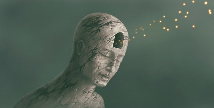 Freedom of expression , life, faith, hope concept. surreal painting artwork , imagination art, fireflies with broken human