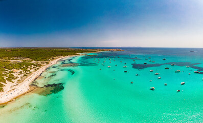 Photo sur Plexiglas Vert corail Majorca Es Trenc ses Arenes beach in Balearic Islands, Spain, July 2020
